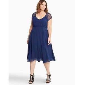 Torrid Navy Blue Chiffon and Lace Dress Size 16